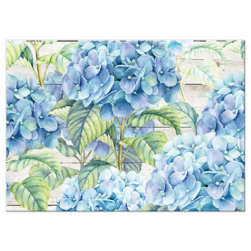 Rustic blue hydrangea flower wedding reception insert card back