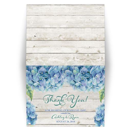 Rustic blue hydrangea flower personalized wedding thank you card