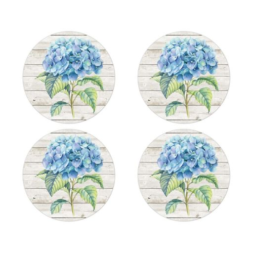 Rustic blue hydrangea flower stickers or envelope seals