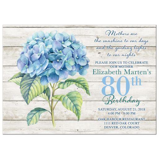 Blue Hydrangea 80th Birthday Invitation