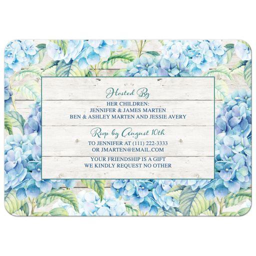 Rustic blue hydrangea flower 80th birthday invitation for an adult woman back