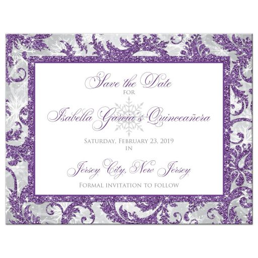 Purple, silver, gray, and white winter Quinceañera invitation with snowflakes and glitter.