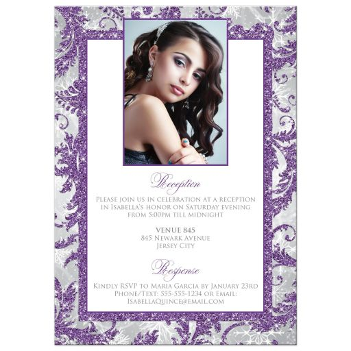 Purple, silver, gray, and white winter Sweet 15th Quinceañera invitations with snowflakes and glitter.