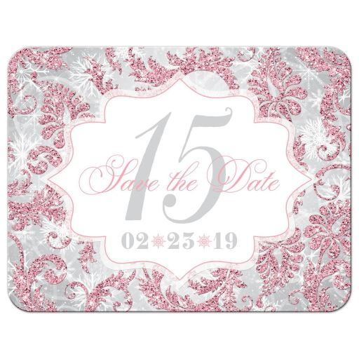 Blush pink, silver, gray, and white winter Quinceañera save the date card with snowflakes and glitter.