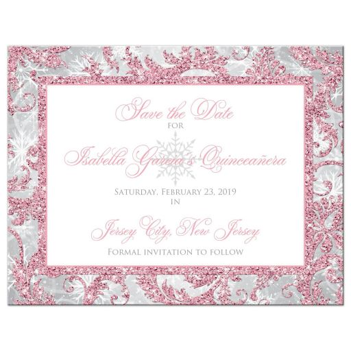 Blush pink, silver, grey, and white winter Quinceañera save the date card with snowflakes and glitter.