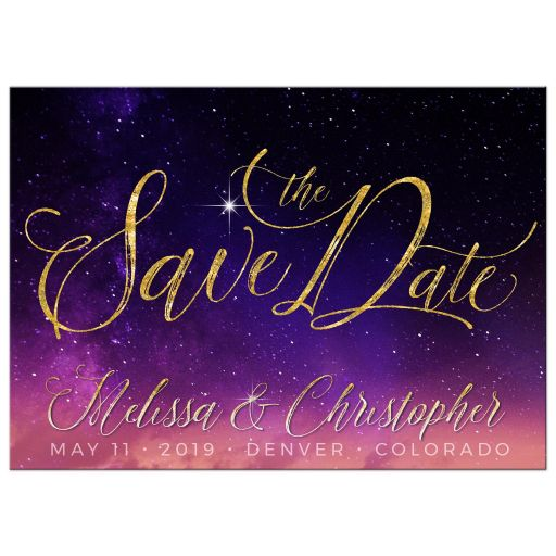 Purple Pink Starry Sky Save the Date