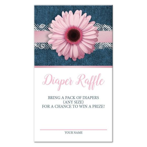 Diaper Raffle Cards - Pink Daisy Lace Rustic Denim