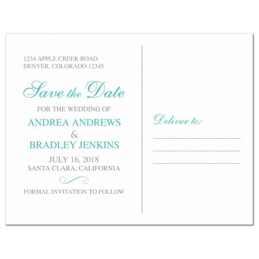 Elegant turquoise and silver grey lace wedding save the date postcard back
