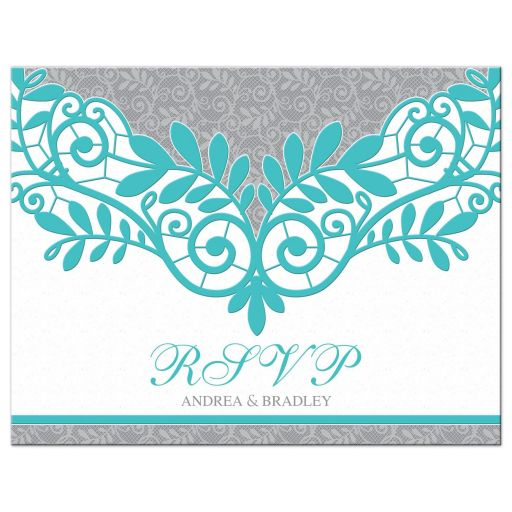 Elegant turquoise and silver grey lace wedding RSVP postcard front