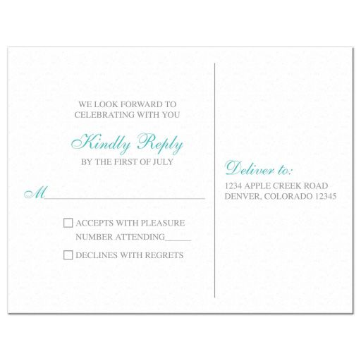Elegant turquoise and silver grey lace wedding RSVP postcard back