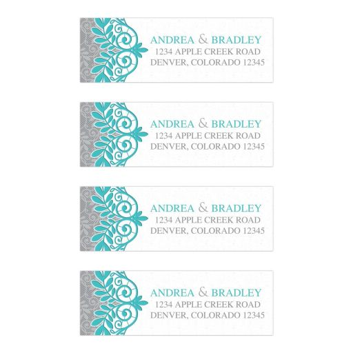 Elegant turquoise and silver gray lace wedding address labels