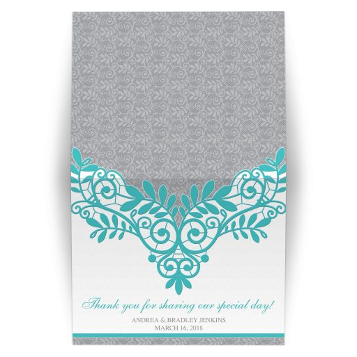 Elegant turquoise and silver grey lace wedding thank you card