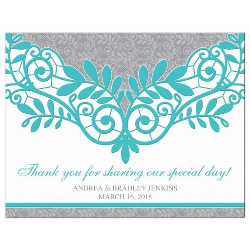 Elegant turquoise and silver gray lace personalized wedding thank you postcard front