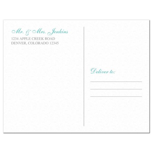 Elegant turquoise and silver gray lace personalized wedding thank you postcard back