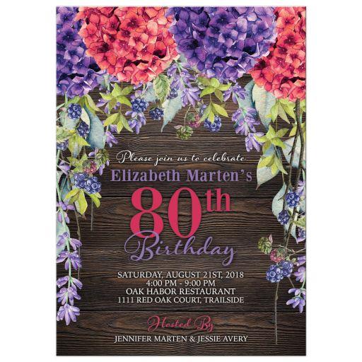 Rustic burgundy purple hydrangea lavender 80th birthday invitation front