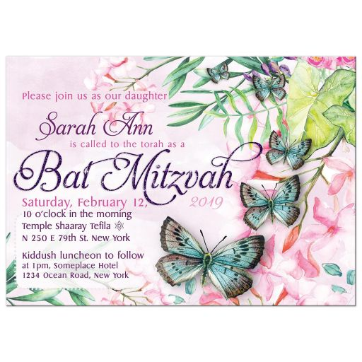 Pretty Flowers Watercolor Butterflies Bat Mitzvah Invitation Card