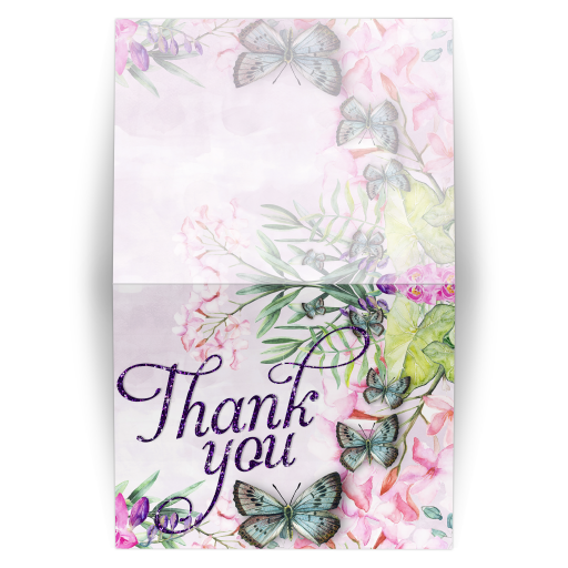 Watercolor Butterflies and Flowers - Folded Thank You Card