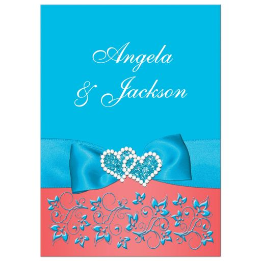 Malibu blue, turquoise or teal blue, white and coral floral wedding invite with joined jewel and glitter hearts buckle, ribbon and ornate scroll.