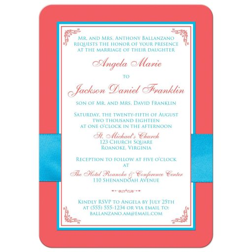 Malibu blue, turquoise or teal blue, white and coral floral wedding invitations with joined jewel and glitter hearts buckle, ribbon and ornate scroll.