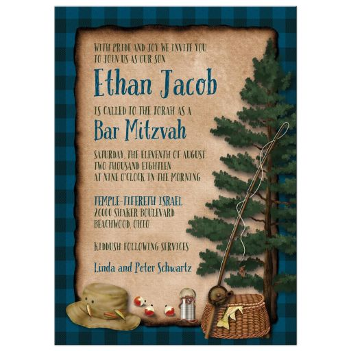 Camping, fishing, tenting, campground Bar Mitzvah or Bat Mitzvah invite with tent, campfire, fishing rod and fish.
