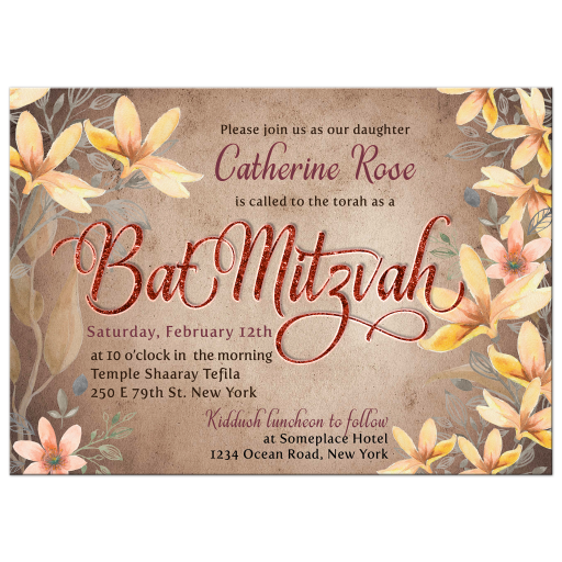 Rustic Woodlands Watercolor Flowers Bat Mitzvah