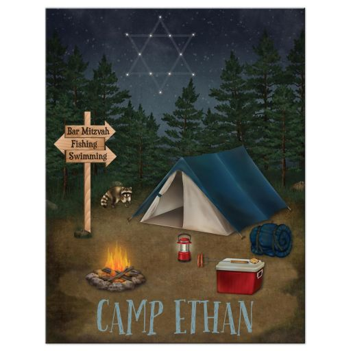 Camping, fishing, tenting, campground Bar Mitzvah or Bat Mitzvah invitation with tent, campfire, fishing rod and fish.