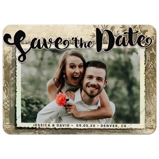 Vintage Rustic Floral Frame Photo Save the Date Card