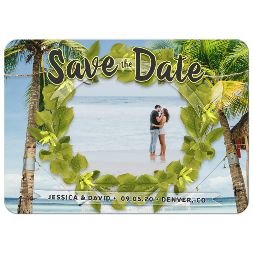 Beach & Green Leaves Wreath Save the Date Card