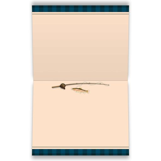 Camping, fishing, tenting, campground Bar Mitzvah or Bat Mitzvah thank you card with tent, cooler, lantern, raccoon, tree, fishing rod and fish.