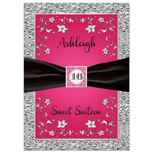 Fuchsia pink, black and silver floral sweet sixteen or Quinceanera invitation.