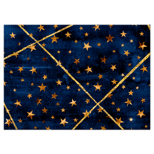 Dark blue watercolor and gold geometric pattern