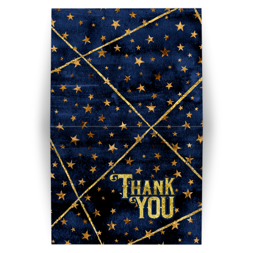 Navy Blue Watercolor and Gold Stars Mitzvah Thank You Folded Card