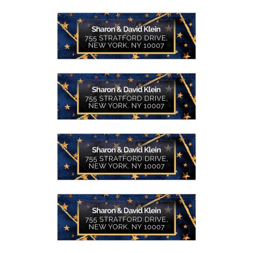 Geometric Royal Blue Gold Stars Address Labels