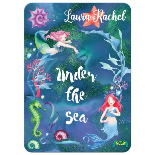 Blue, purple, pink, and green Under the Sea Bat Mitzvah or Birthday invites with mermaids, seahorses, starfish, sea shells and coral with Hebrew name.