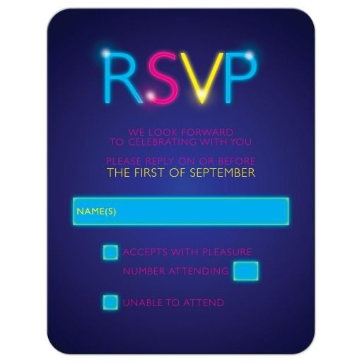 Neon glow party Bat Mitzvah RSVP card glow in the dark front