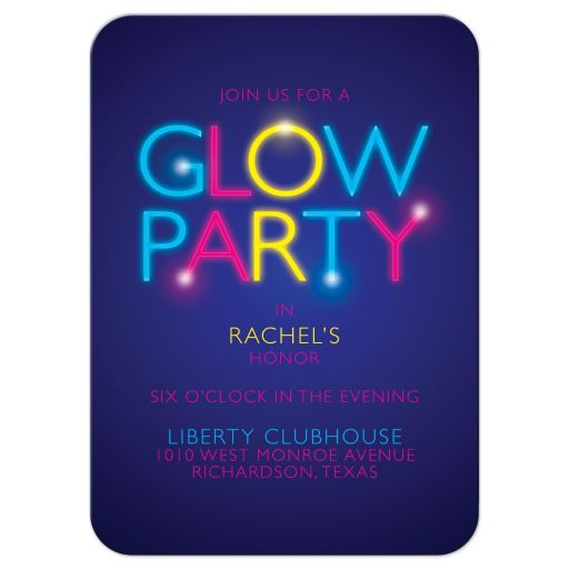 Neon glow party Bat Mitzvah reception card glow in the dark front