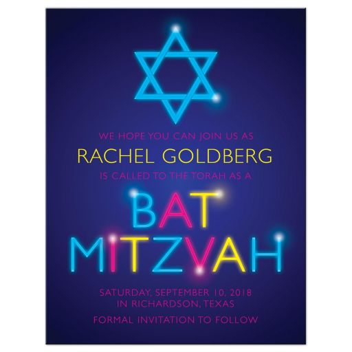 Modern and sleek glow party Bat Mitzvah Save the Date Announcement