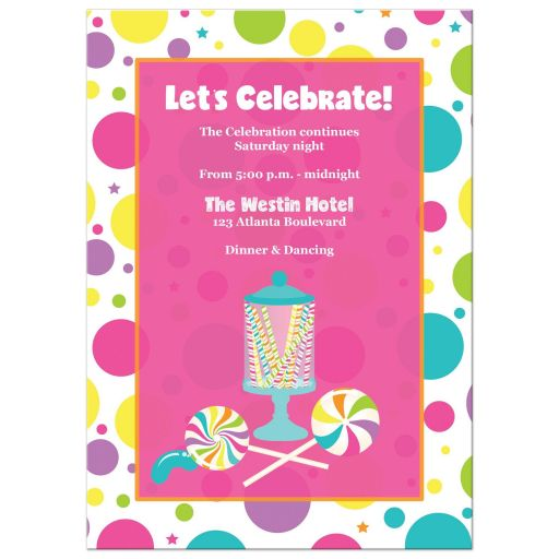 Candyland Bat Mitzvah invitation with stripes, polka dots, candies, lollipops, gumball machine in bright pink, orange, purple, yellow, green, blue and white.