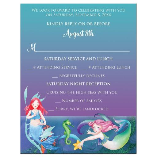 Under the Sea Bat Mitzvah or Birthday response cards with mermaids, sea shorses, starfish, sea shells and coral.