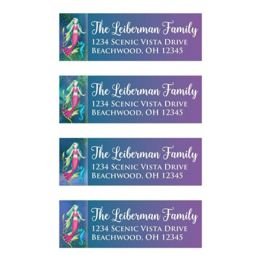 ​Personalized Under the Sea theme address labels stickers with a mermaid, sea horse, and algae on a blue, purple and green glittery background with white lettering.