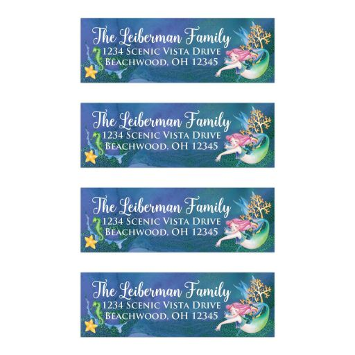 Personalized Under the Sea or Mermaid Kisses and Star Fish Wishes theme address labels with a mermaid, sea horse, coral, algae, and star fish on a watery blue, purple, aqua, and green glittery background with white lettering.
