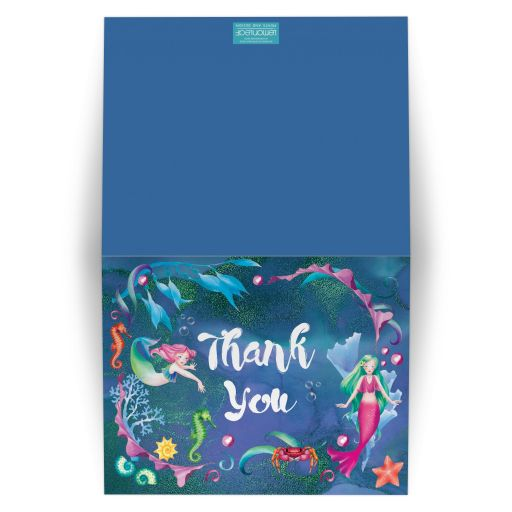 Under the Sea Bat Mitzvah thank you card with mermaid, seashorse, starfish, sea shells and coral.