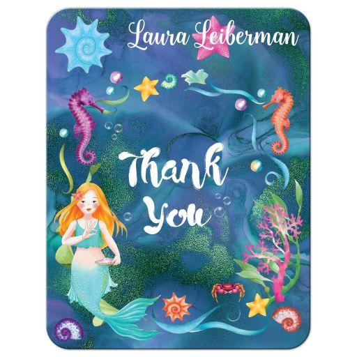 Under the Sea Bat Mitzvah thank you card with mermaid, seashorse, starfish, sea shells and coral.