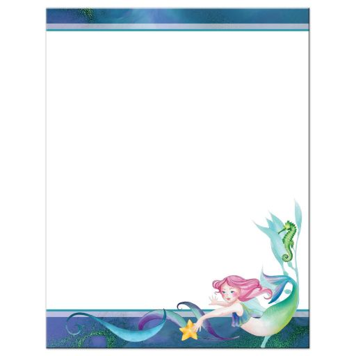 Blue, purple, pink, and green Under the Sea Bat Mitzvah thank you card with mermaid, seashorse, starfish, sea shells and coral.