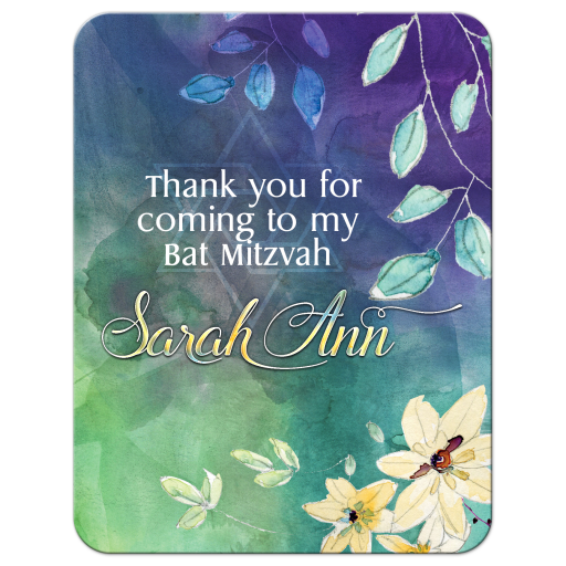 Purple Green Floral Watercolor Bat Mitzvah Thank You Card