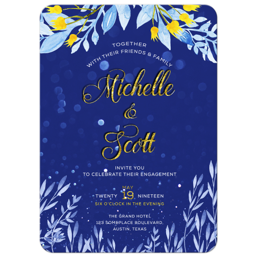 Blue leaves Yellow flowers Watercolor Invitation Card