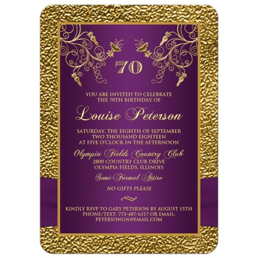 Purple and gold floral 70th milestone birthday invitation with photo template.