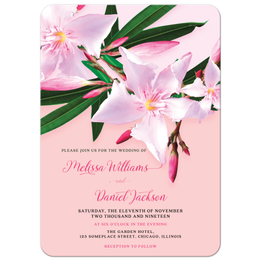 Pink Oleander Wedding Invitation Card