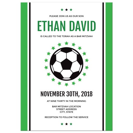 Simple Green Black White Stars Soccer Bar Mitzvah Invitation