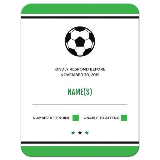 Soccer bar mitzvah RSVP cards, green and black design with soccer ball